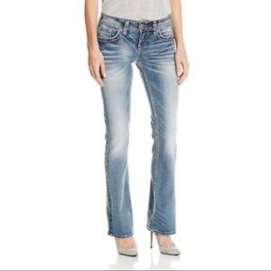 Silver Jeans McKenzie flap silver details 27 W 34L